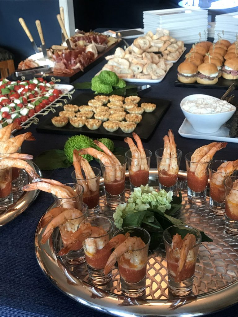 A spread of appetizers plated and ready to eat